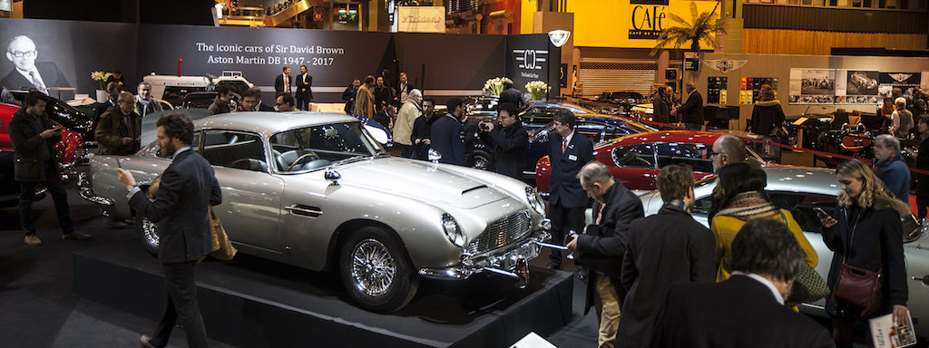 "Aston Martin DB5 Goldfinger at booth of ""The iconic cars of Sir David Brown - Aston Martin DB 1947 - 2017"""